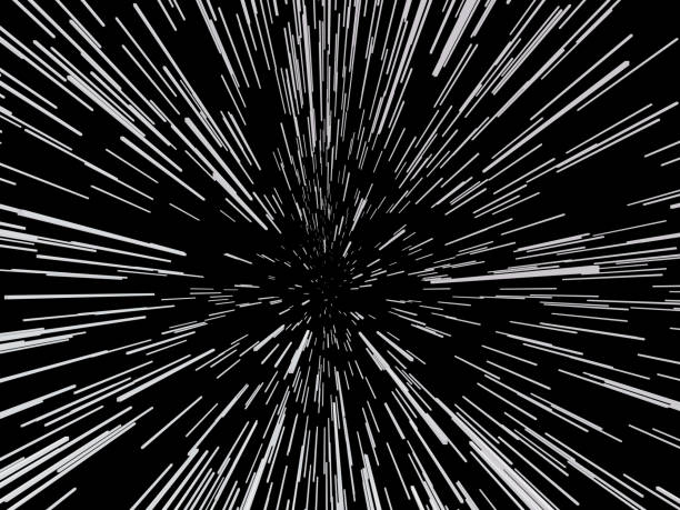 Background with acceleration Abstract background with the effect of acceleration. A lot of white lines on a black background. Vector illustration. zoom effect stock illustrations