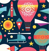 Background with air balloon, helicopter, kite, airplane sky rocket