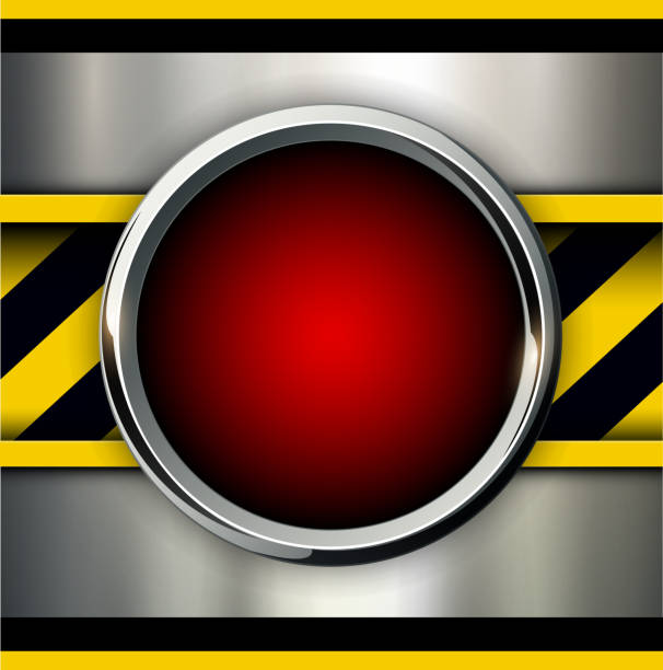 Background with alarm red button vector art illustration