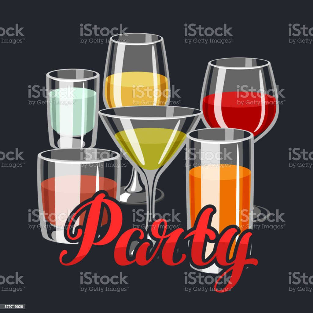 background with alcohol drinks and cocktails in various glasses