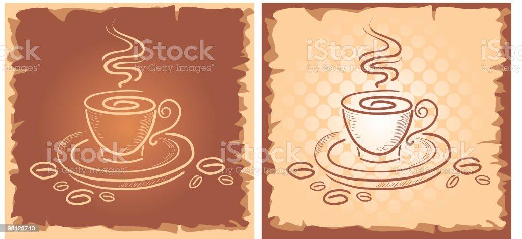 Sfondo con arte e tazza di caffè sfondo con arte e tazza di caffè - immagini vettoriali stock e altre immagini di arte royalty-free