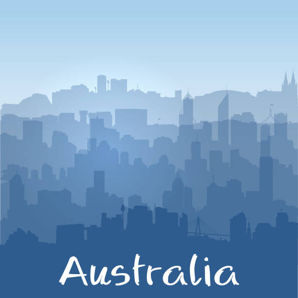 background with Australian cities silhouettes vector art illustration