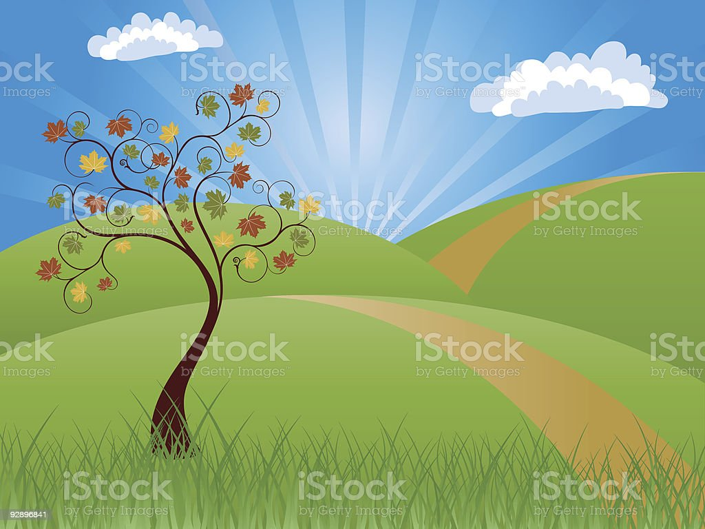 Background with autumn landscape. royalty-free stock vector art