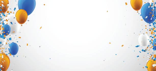 Hintergrund mit Luftballons und Konfetti. – Vektorgrafik