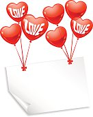 Background with balloons in the shape of heart and note