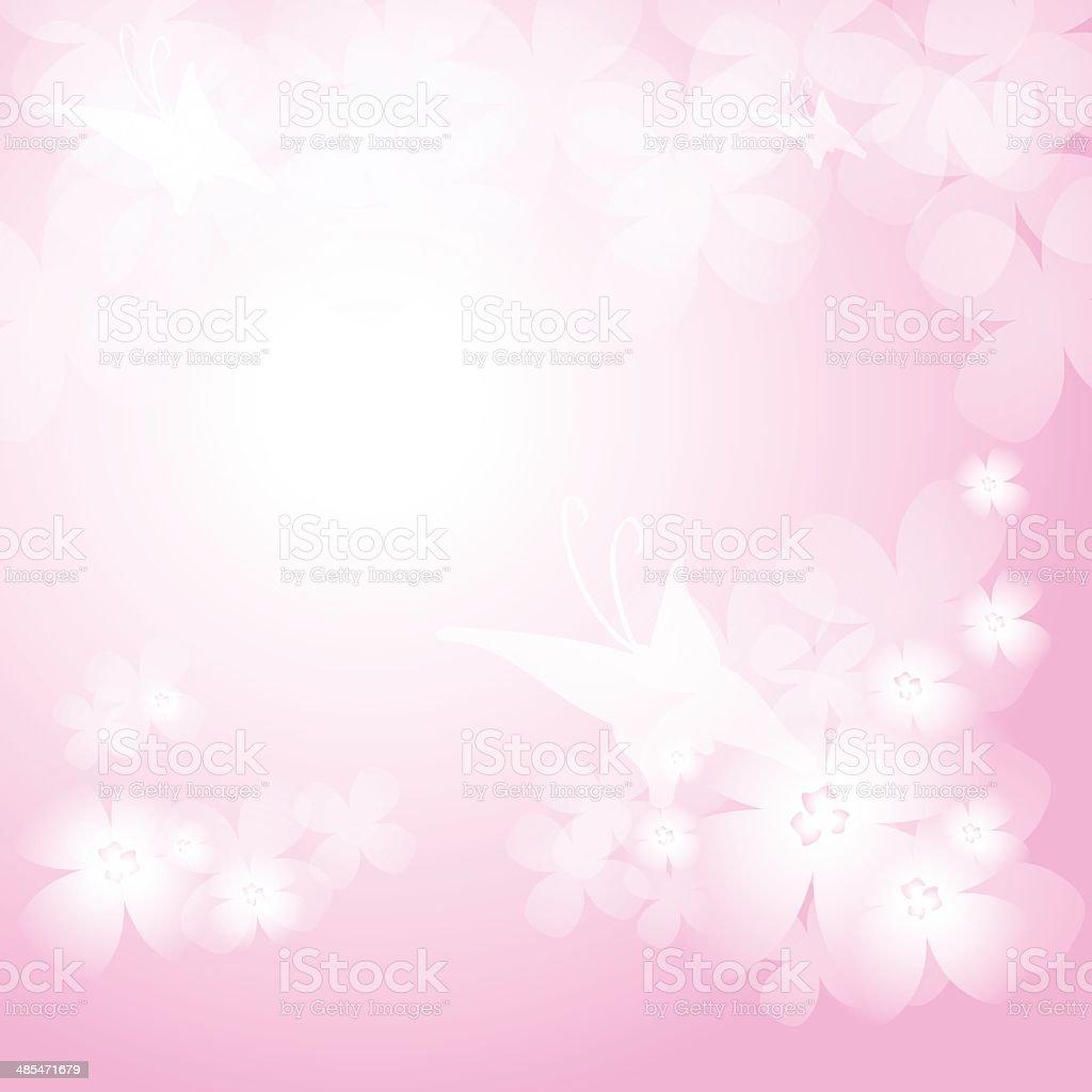 Sfondo Con Bella Rosa Fiori E Farfalle Immagini Vettoriali Stock E