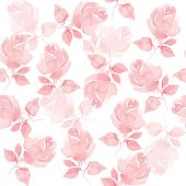 Vector background with hand-drawn roses