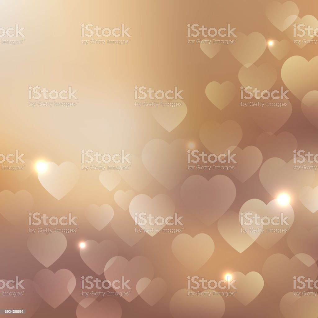 Background with beige hearts vector art illustration