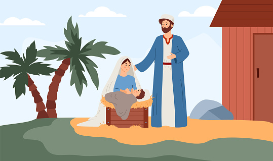 Background with Bible narrative of Birth of Jesus, flat vector illustration.