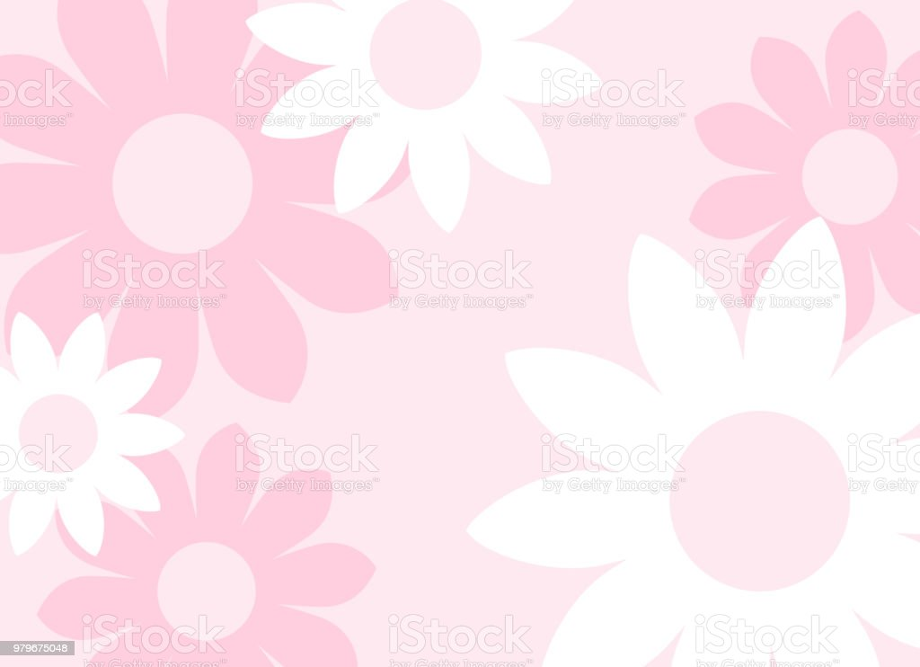 Background with big flowers vector art illustration