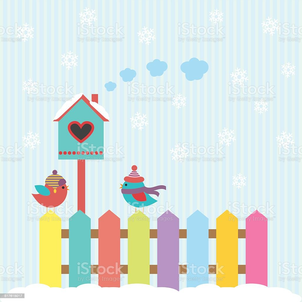 Background with birds and birdhouse winter vector art illustration