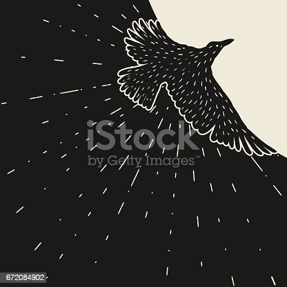 istock Background with black flying raven. Hand drawn inky bird 672084902