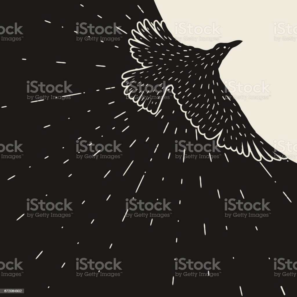 Background with black flying raven. Hand drawn inky bird vector art illustration