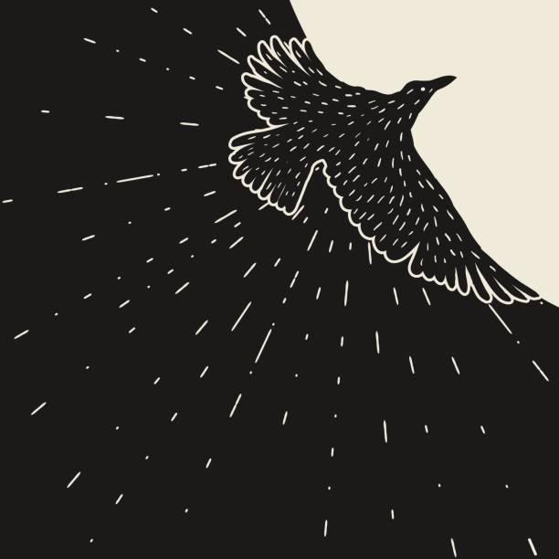 hintergrund mit schwarzen fliegenden raben. handgezeichnete pechschwarzen vogel - freiflächen stock-grafiken, -clipart, -cartoons und -symbole