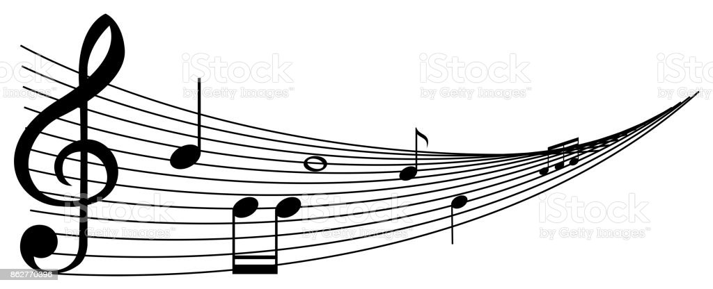 Background with black music notes vector art illustration