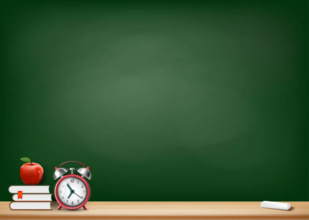 background with blackboard books alarm clock and apple - классная доска stock illustrations