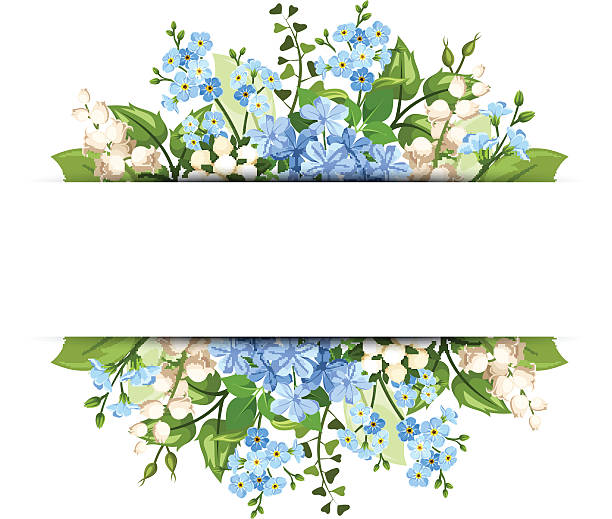 Background with blue and white flowers. Vector eps-10. Vector horizontal background with blue and white flowers and green leaves. lily of the valley stock illustrations