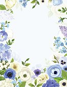 Background with blue and white flowers. Vector illustration.