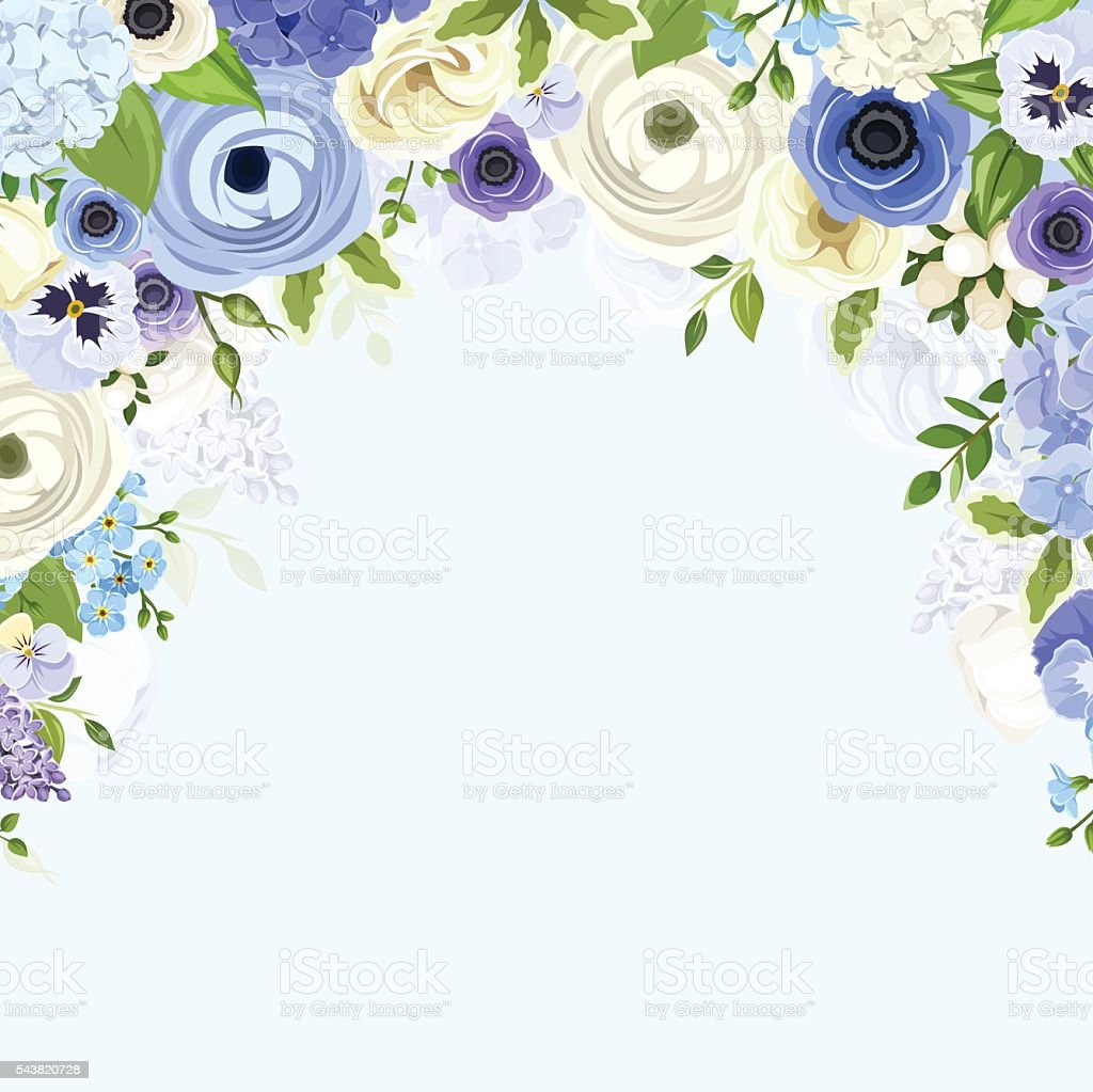Background with blue and white flowers vector illustration stock background with blue and white flowers vector illustration royalty free background with blue mightylinksfo Choice Image
