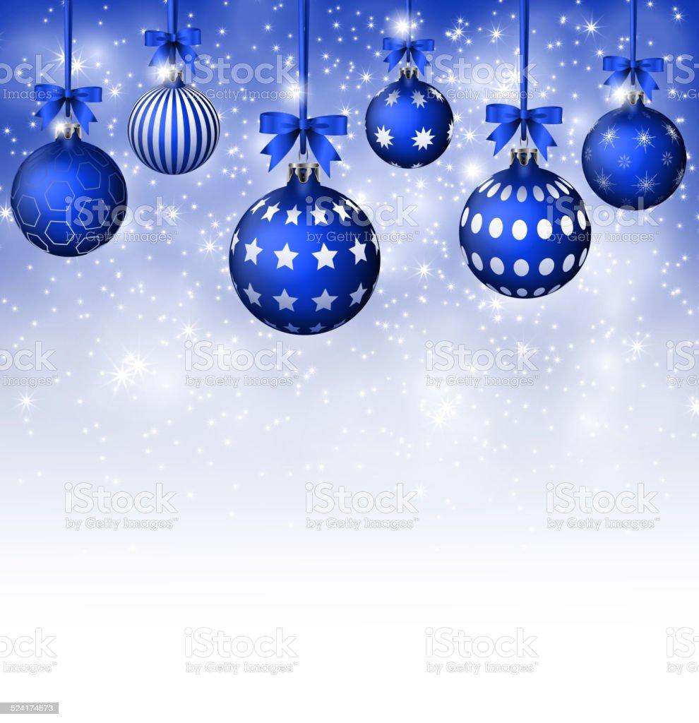 Sfondi Natalizi Eleganti.Sfondo Blu Con Palle Di Natale Con Fiocchi Di Neve E Bianco