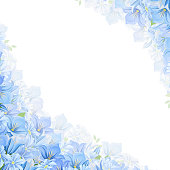 Background with blue flowers. Vector illustration.