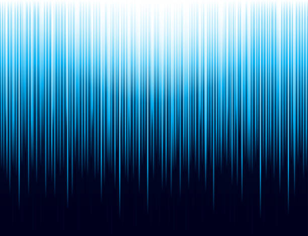 ilustrações de stock, clip art, desenhos animados e ícones de background with blue glowing striped lines technology. abstract blue background with vertical lines. cover design template for the presentation, brochure, web, banner, catalog, poster, book, magazine - vector - vertical
