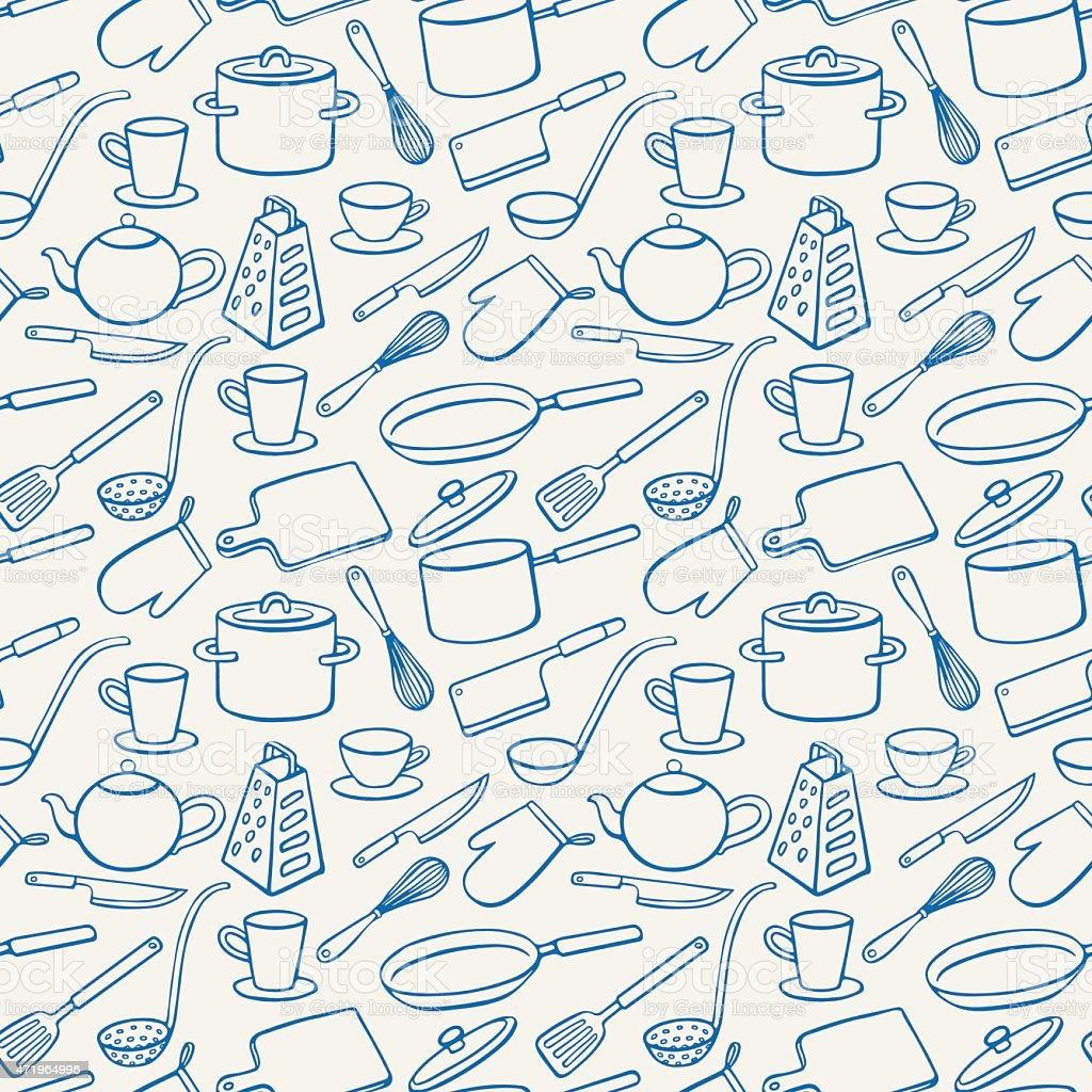 Background with blue kitchen utensils stock vector art for Utensilios de cocina fondo