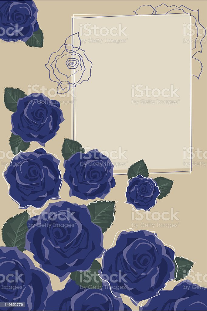 Background with Blue Roses royalty-free stock vector art