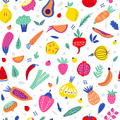 Bright seamless pattern with fruits and vegetables in scandinavian style on a white background. Vector illustration. Great for kitchen textiles and healthy food designs.