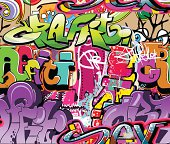 Background with brightly colored graffiti
