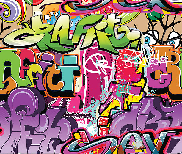 Background with brightly colored graffiti Hip-hop illustration. Graffiti urban art background. No EPS10 effects are used alphabet backgrounds stock illustrations