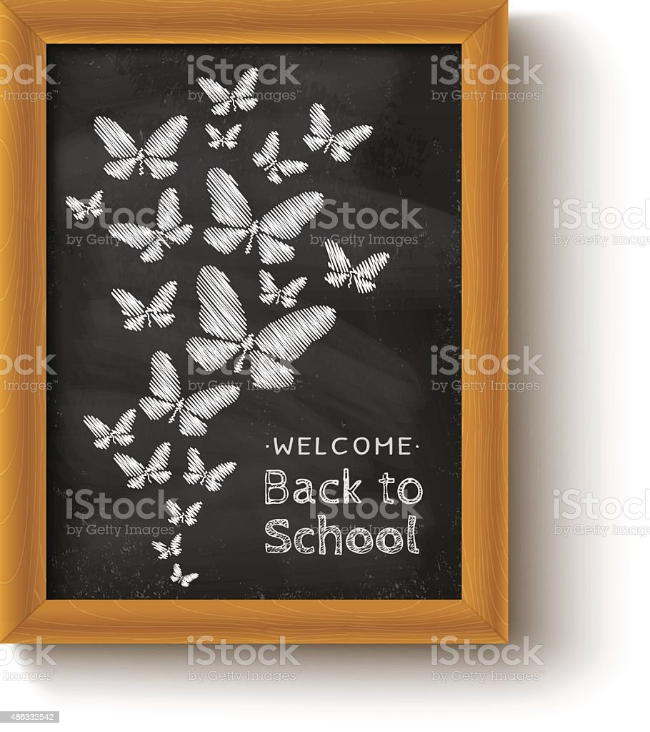 background with butterflys on chalkboard vector art illustration