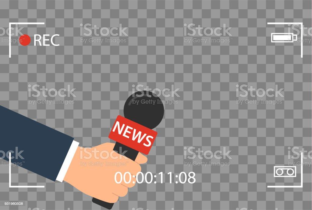 fondo con cámara marco y registro o rec vector aislado. foco TV en vivo noticias diseño plano. mano que sostiene la historieta mic. Periodismo y micrófono con el periodista moderno deporte en Conferencia de prensa. - ilustración de arte vectorial