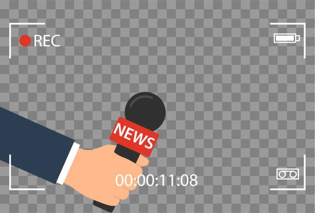 Hintergrund mit Kamera Rahmen und Datensatz oder Rec Vektor isoliert. Focus TV im live-Nachrichten flat Design. Hand hält mic Cartoon. Journalismus und Mikrofon mit moderner Journalist für Sport in der Pressekonferenz. – Vektorgrafik