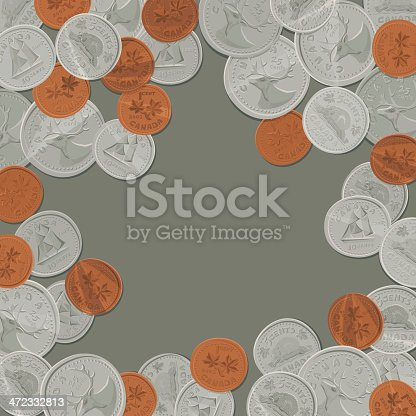 Background with Canadian Coins. Vector. EPS 8.