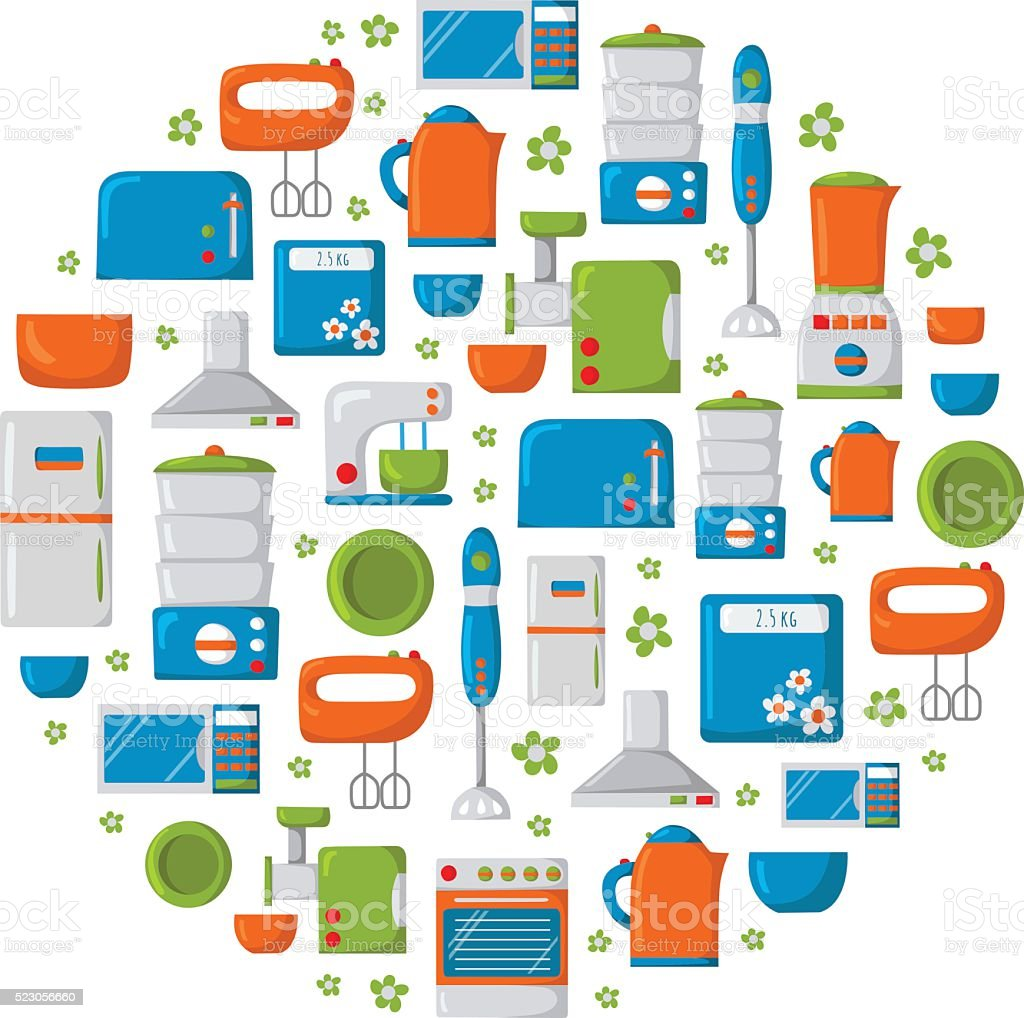 Background With Cartoon Kitchen Appliances Stock Vector Art & More ...