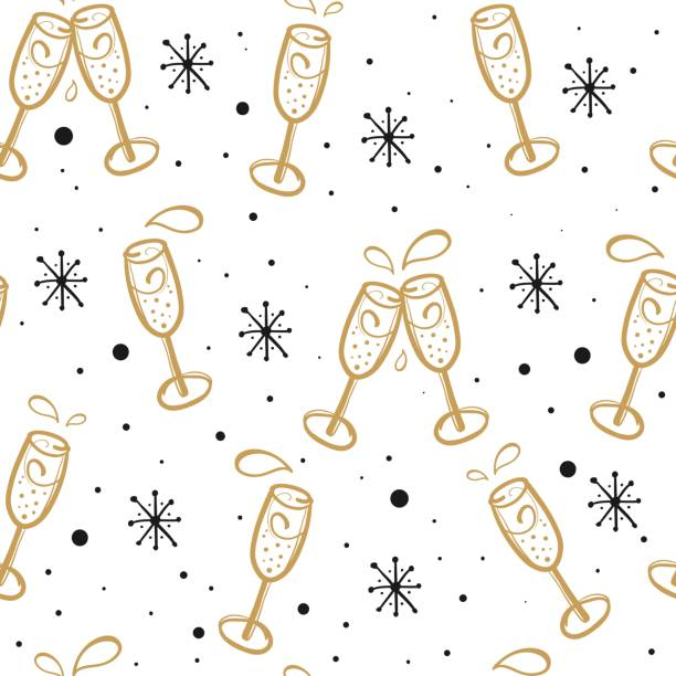 background with champagne glasses. seamless christmas or new year vector pattern. - alcohol drink patterns stock illustrations