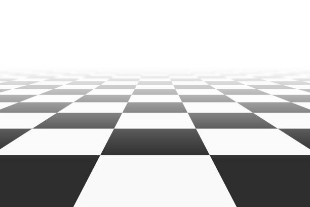 ilustrações de stock, clip art, desenhos animados e ícones de background with checkered surface in perspective view - xadrez