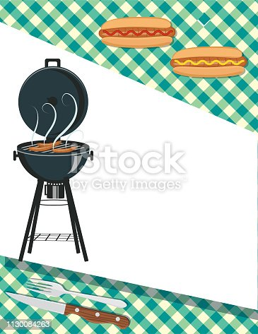 Barbecue template with foods on Checkered background and copy space.