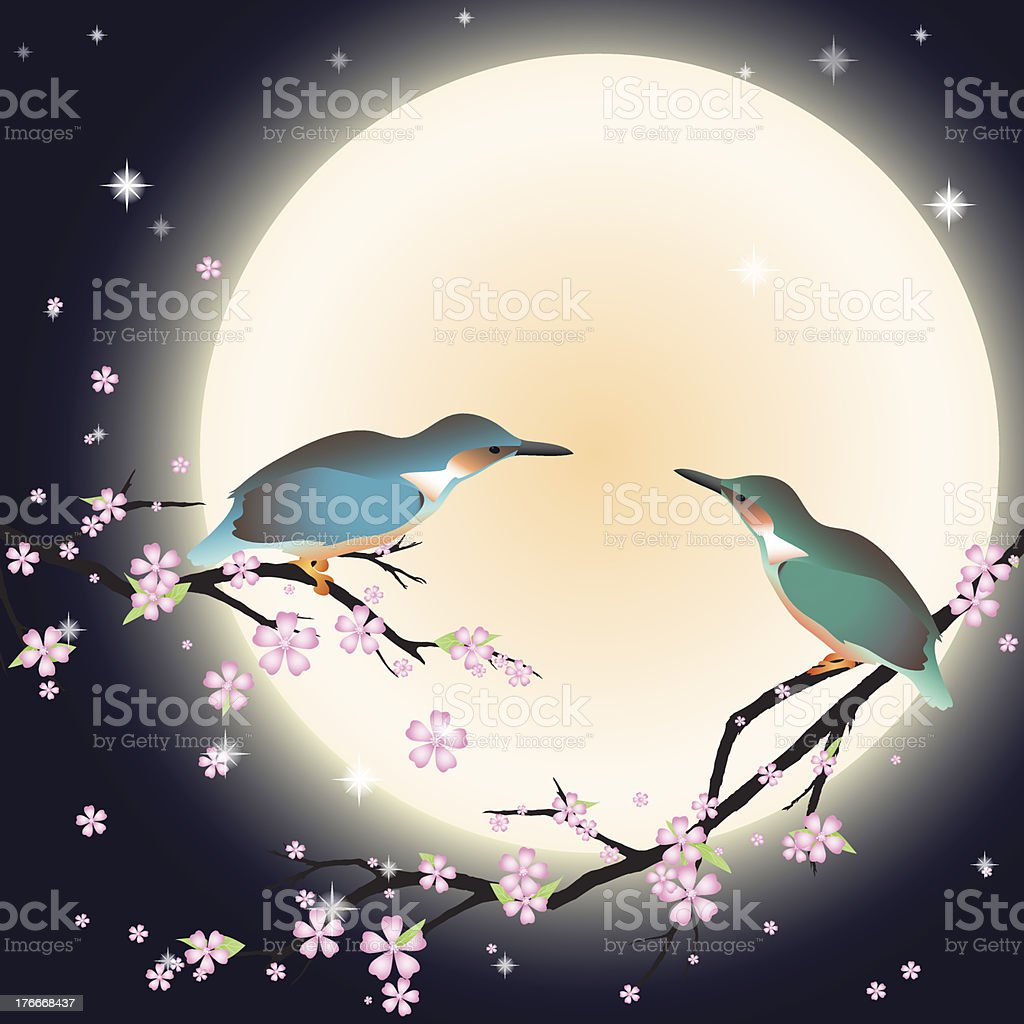 Background with cherry blossom and a couple bird. royalty-free background with cherry blossom and a couple bird stock vector art & more images of apple - fruit