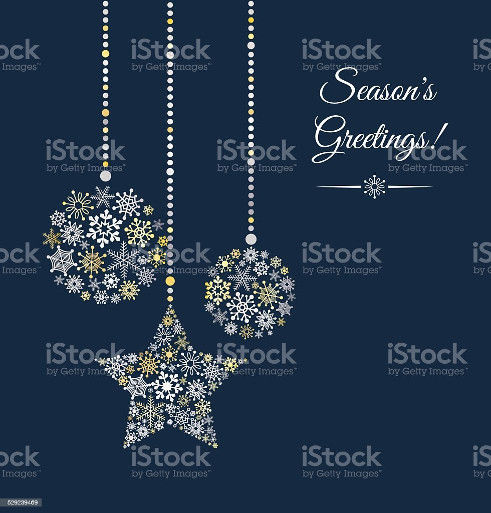 Background with christmas ball made of snowflakes. vector art illustration
