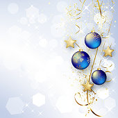 Background with Christmas baubles and snowflakes