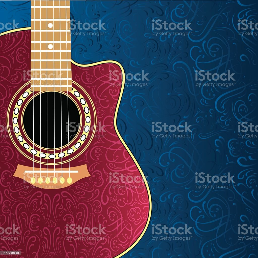 background with clipped guitar and stylish ornament vector art illustration