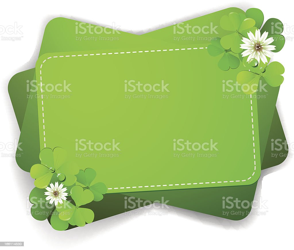 Background with clover over white royalty-free stock vector art