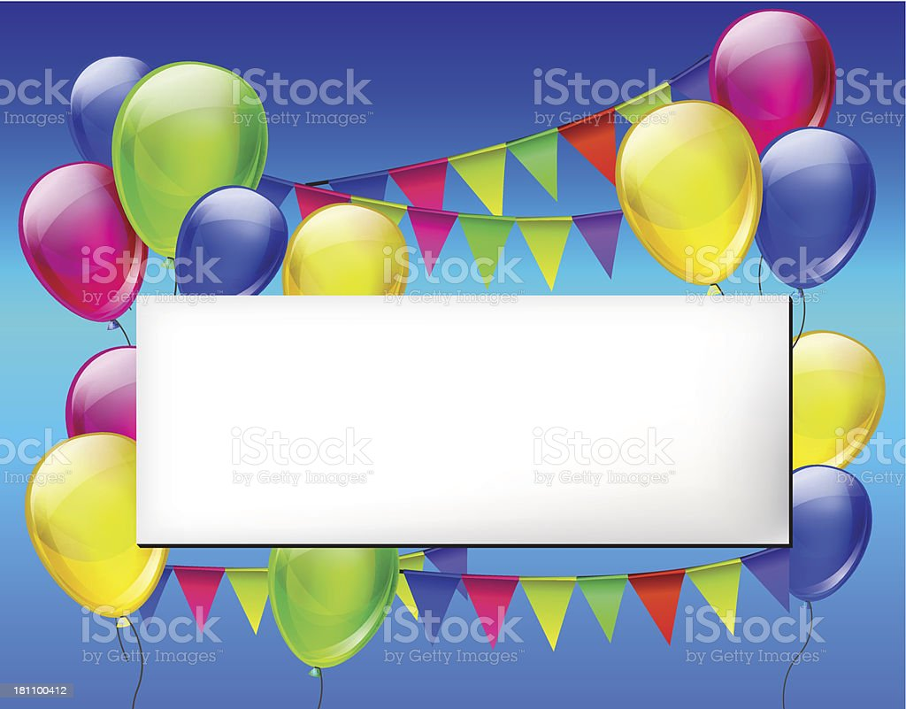 Background with color balloons for design royalty-free stock vector art