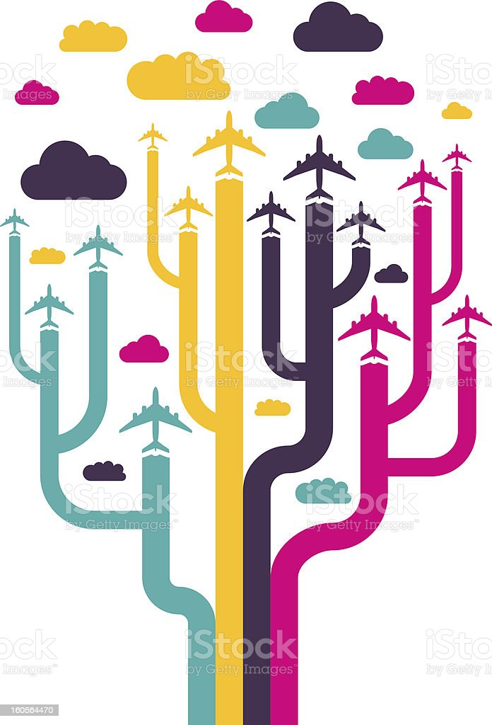 Background with colorful airplanes royalty-free stock vector art