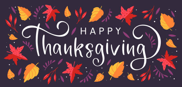 background with colorful autumn leaves and hand drawn lettering happy thanksgiving - thanksgiving stock illustrations
