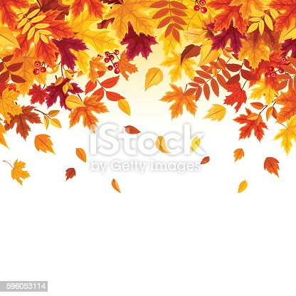 istock Background with colorful falling autumn leaves. Vector illustration. 596053114