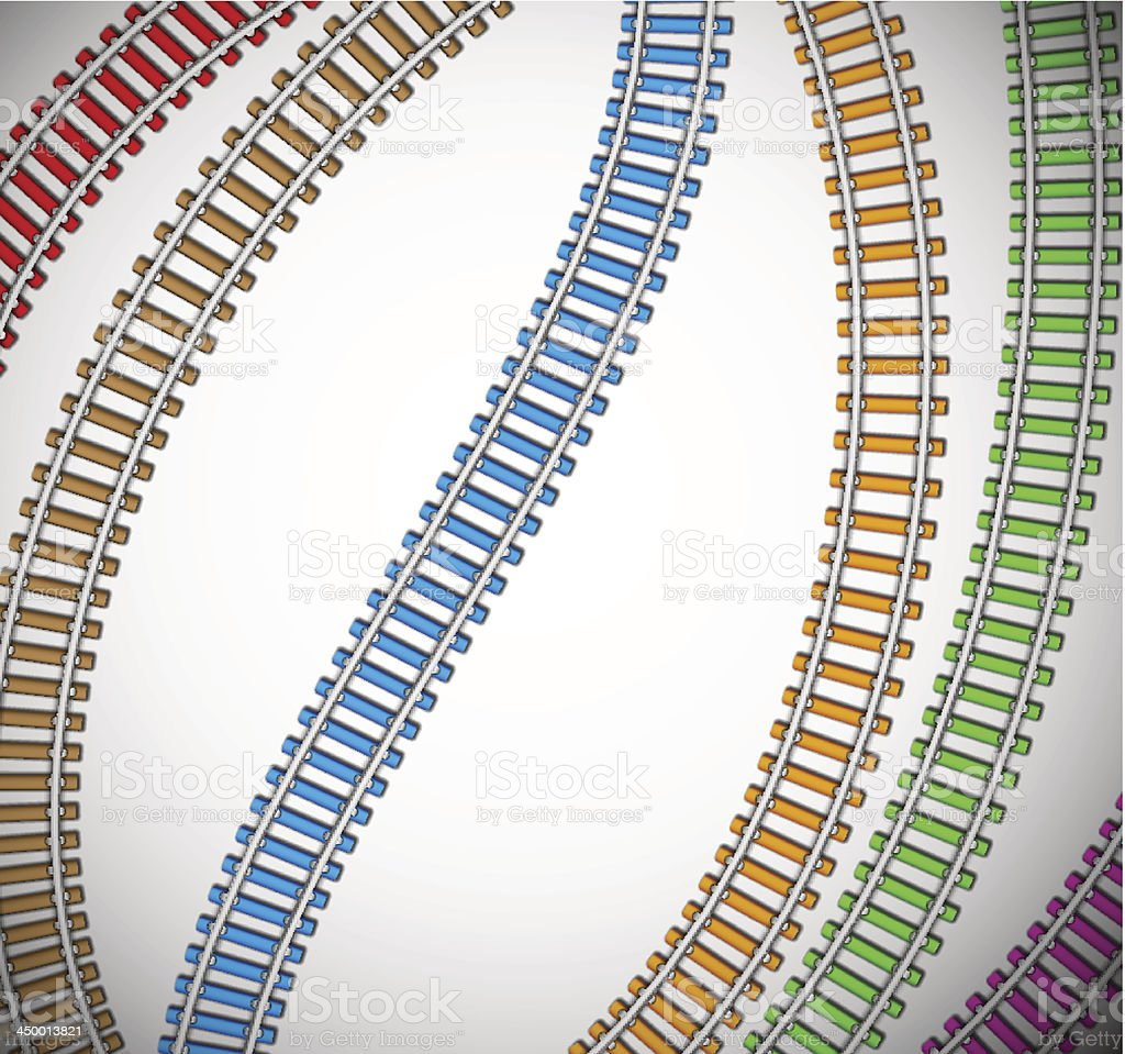 Background with colorful rails vector art illustration
