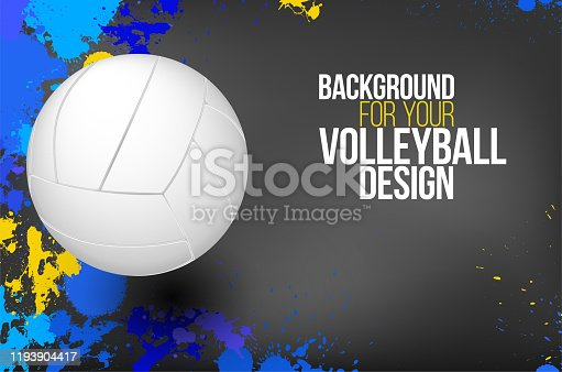 istock Background with colorful splashes and volleyball ball 1193904417